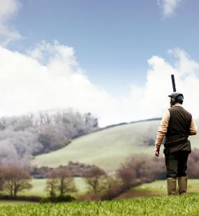 A man holding a shotgun looks out over fields