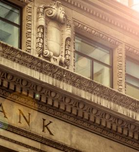The ornate stone facade of a bank