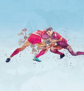 An illustration of two rugby players tackling