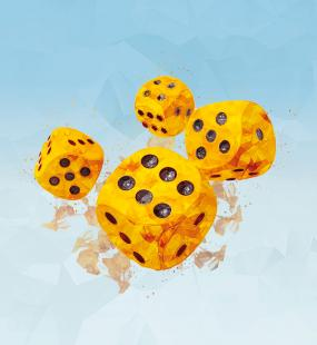 An illustration of four dice in motion, as through in mid-roll