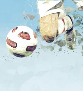 An illustration of a close-up of a footballer about to kick a moving ball