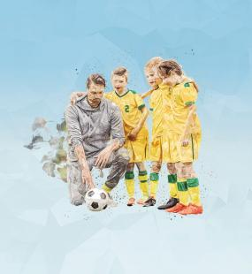 An illustration of a coach crouching down to speak to three young footballers