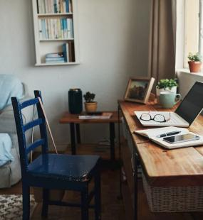 remote working covid-19 - desk at home blue chair