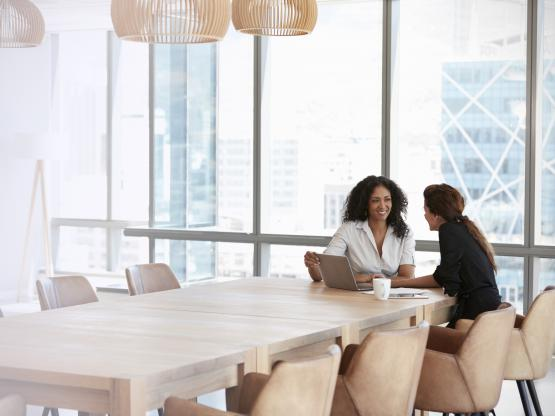 Two business women have a meeting in a brightly lit modern office