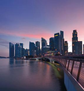 Singapore sunset skyline