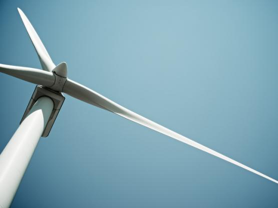 Renewable energy wind turbine close up