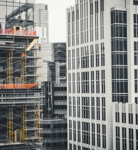 Scaffolding on a partially constructed skyscraper