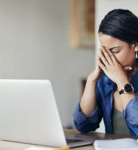 Stressed lady after making error in business