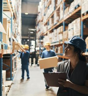 Lady working in warehouse