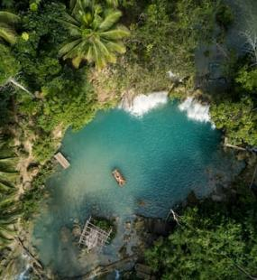Overhead shot of beautiful lagoon in the Philippines