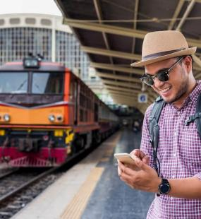 Man excited that the train is coming