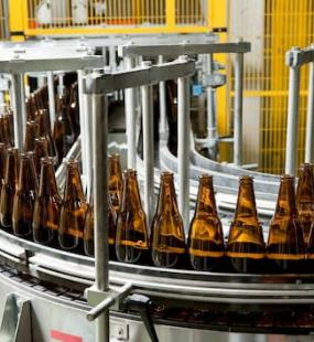 Bottles on a conveyor belt
