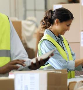 Woman working working in distribution centre