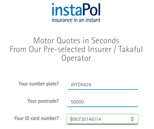 Instapol first 3 questions: licence plate, postcode, ID card number
