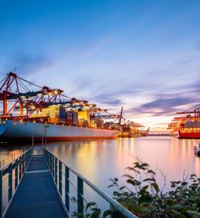 Port terminal evening - Ports & Terminals Industry Insurance - Howden Belgium