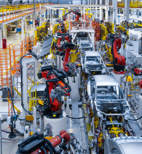 Cars on a production line