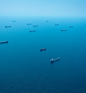 Image of many cargo ships out at sea