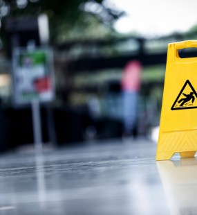 Slips and trips yellow signage  - General Liability